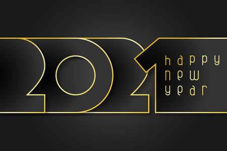 Happy New Year 2021 poster. Numbers cut out of black paper with gold. Winter holidays greeting or invitation. Vector illustration on black background.