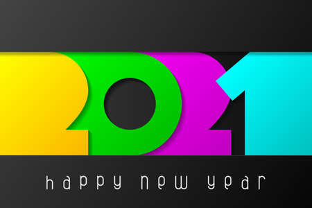 Happy New Year 2021 poster with numbers cut out of colored paper. Winter holidays greeting or invitation. Vector illustration on black background.