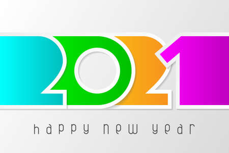 Happy New Year 2021 poster with numbers cut out of colored paper. Winter holidays greeting or invitation. Vector illustration on white background. Illusztráció