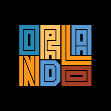 Orlando Typography poster. T-shirt fashion Design. Template for poster, print, banner, flyer. Concept for print production.