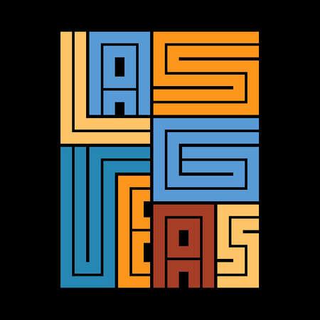 Las Vegas Typography poster. T-shirt fashion Design. Template for poster, print, banner, flyer. Concept for print production. Illusztráció