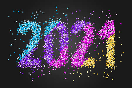 Happy New Year Banner with colored confetti numbers 2021 on black background. Greeting for flyers, postcards, posters, banners and social media.