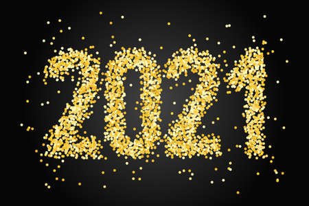 Happy New Year Banner with gold glittering numbers 2021 on black background. Greeting for flyers, postcards, posters, banners and social media.