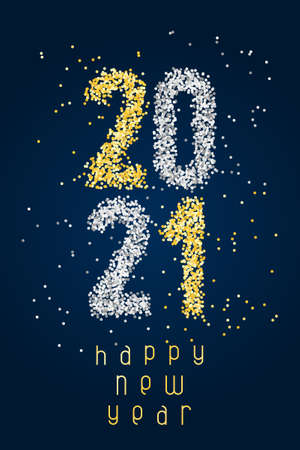 Happy New Year Banner with golden and silver glittering numbers 2021 and with greeting text on blue background. Greeting for flyers, postcards, posters, banners and social media. Vettoriali