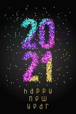 Happy New Year Banner with colored confetti numbers 2021 and with greeting text on black background. Greeting for flyers, postcards, posters, banners and social media. Vettoriali