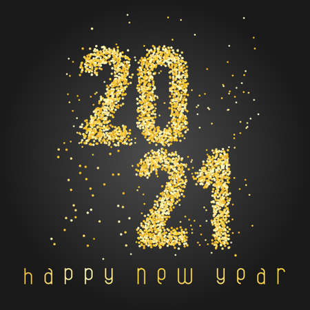Happy New Year Banner with golden glittering numbers 2021 and with greeting text on black background. Greeting for flyers, postcards, posters, banners and social media.