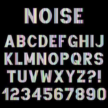Decorative alphabet letters with electronic noise effect. Vector font design.