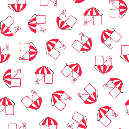 A canopy, a red tent with a white dome. Seamless watercolor pattern. Tent, market stall, circus.