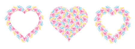 Set of Frames with multicolored delicate flowers in the shape of a heart. Elements for design for Valentine's Day, Wedding. Watercolor pink, blue and yellow flowers. Stock fotó