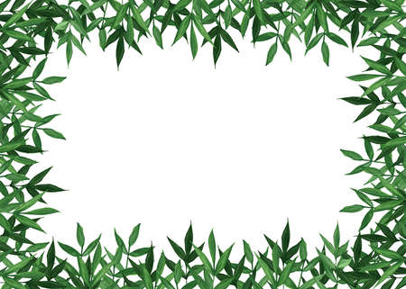 Botanical watercolor banner design. Delicate green leaves. Blank for postcards, wedding invitations. Floristic borders. Place for your text.