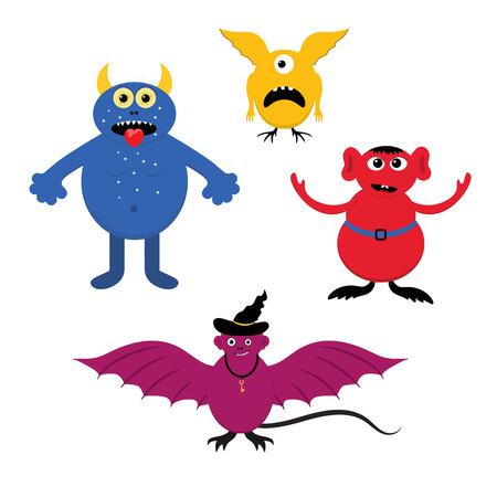 A set of fantastic cartoon monsters. Illustration