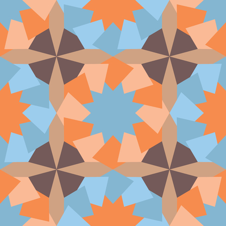 Abstract exotic seamless pattern with geometric shapes. Illustration