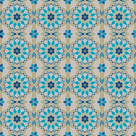 Abstract geometric mosaic with oriental ornament, seamless pattern.