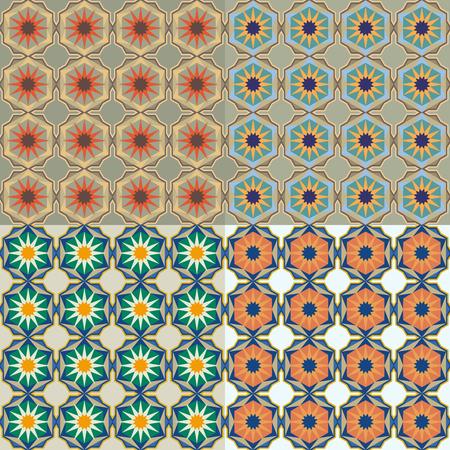 Moroccan tiles with stars, arabic geometric pattern.