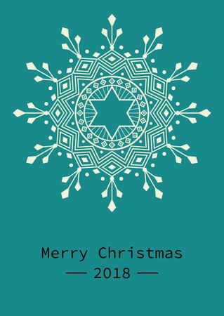 抽象的な幾何学的な雪片、グリーティングカードと招待状のためのマンダラとクリスマステンプレート。