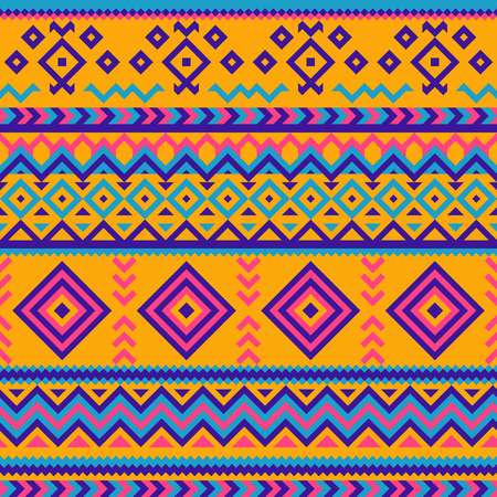 Seamless Mexican multicolor geometric pattern.