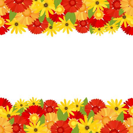 Vivid floral vector background with gerberas.