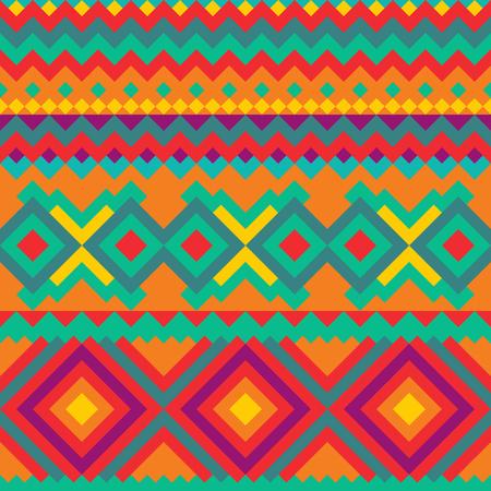 Modello senza cuciture messicano geometrico tribale. Vettoriali