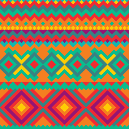 Tribal geometric Mexican seamless pattern. Vectores