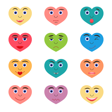 Set of color vector hearts with emotions.