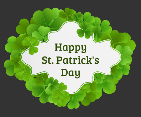 Happy St. Patricks Day, greeting banner with clover leaves and a frame. Illustration