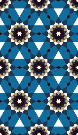 Decorative geometric ornament. Islamic mosaic illustration. Illustration