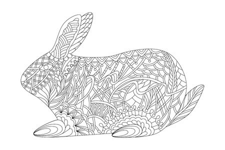 Zen-tangle stylized rabbit. Coloring book is anti-stress. Zen doodles.