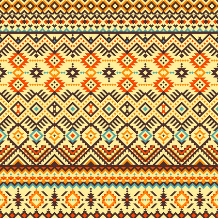 Ethnic seamless pattern with abstract geometric ornament. Vector illustration. American navajo aztec drawing.
