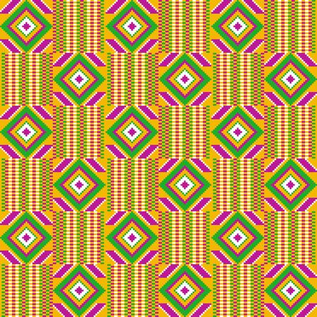 Ghana kente fabric. Estampado africano. Patrón de vector tribal