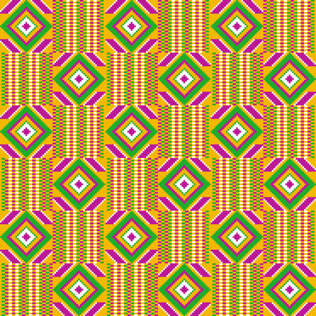 Tessuto ghana kente. Stampa africana. Modello tribale vettoriale