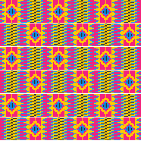 Ethnic seamless pattern. Cloth Kente. Traditional ornament of Ghana.