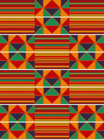 Modello etnico senza soluzione di continuità. Cloth Kente. Ornamento tradizionale del Ghana. Vettoriali