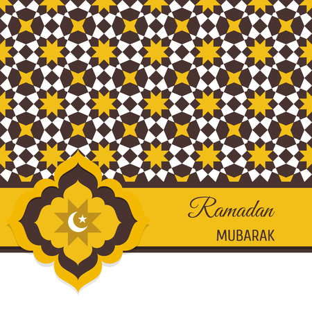 Ramadan Mubarak greeting card, invitation with Muslim symbol. Illustration