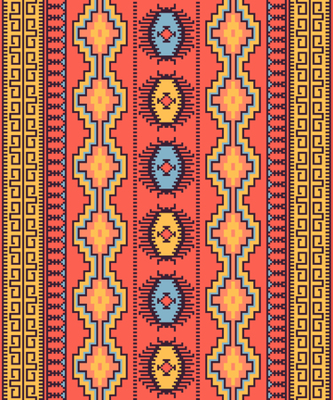 Ethnic seamless pattern. Tribal kilim. Can be used as wall and floor carpets, bedspreads, tablecloths, carpets, as an element of decor, etc.