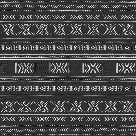 Black and white tribal pattern. Traditional Malian cloth with geometric ornament. Vector illustration.