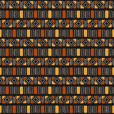 Tribal seamless pattern. Traditional African mud cloth. Vector illustration.