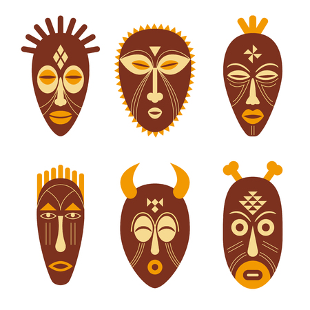 Set of African ritual masks isolated on white background. Vector illustration.