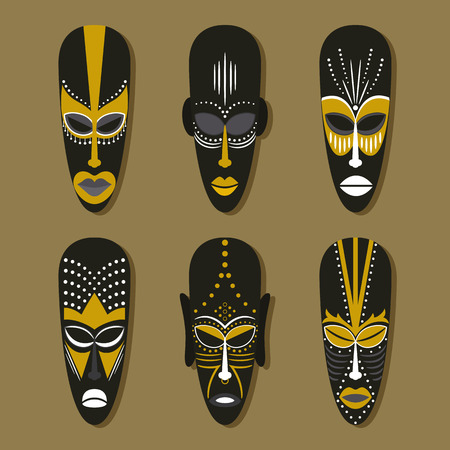 Set of six ethnic tribal masks in the African style. Vector illustration.