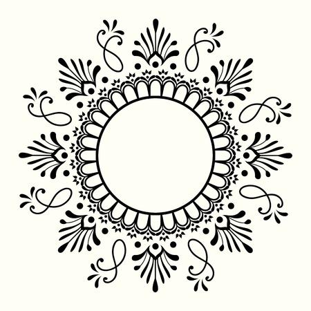 Decorative black and white frame. Mehndi and yoga design. Vector illustration.