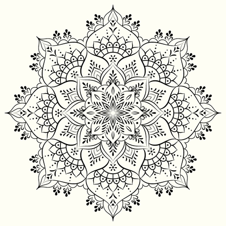 Flower decorative mandala for drawing henna, tattoo, print on clothes, different accessories, coloring of anti-stress.  イラスト・ベクター素材