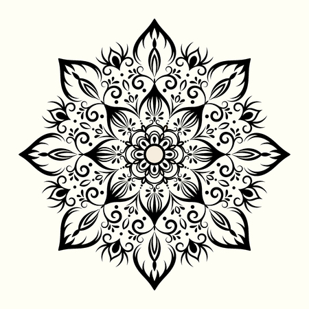 Flower decorative mandala for drawing henna, tattoo, print on clothes, different accessories, coloring of anti-stress. Foto de archivo - 100453271