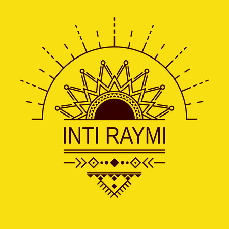 Pagan holiday of the Sun in Peru Inti Raymi. Card, invitation, poster in a geometric style. Vectores