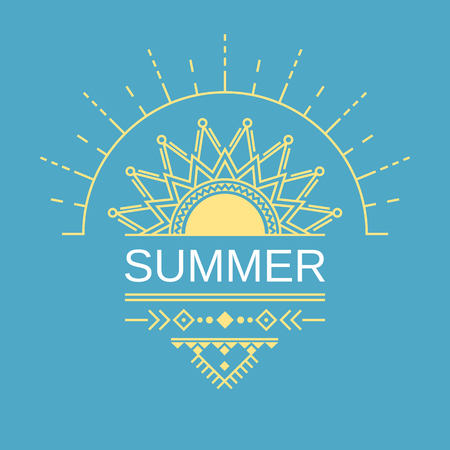Ethnic summer card, poster, banner, cover with the image of the sun in a geometric style.  イラスト・ベクター素材