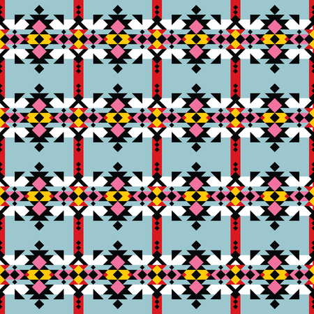 Colorful indian seamless pattern, navajo print, aztec style.
