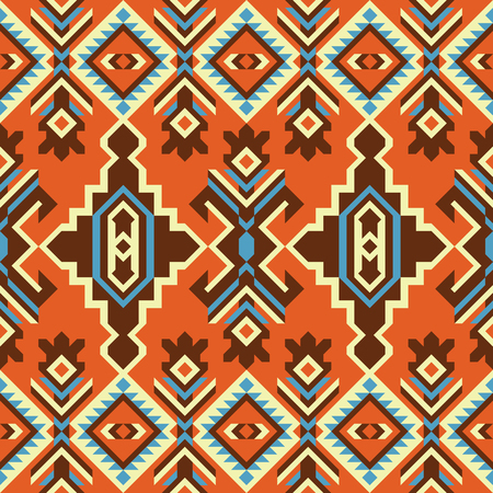 Ethnic geometric ornament, seamless pattern, tribal kilim. Stock Illustratie