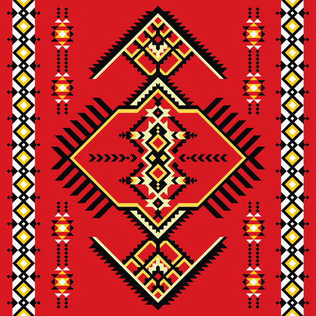 Tribal kilim, abstract geometric ornament, ethnic seamless pattern.
