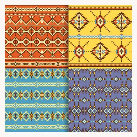 Set of ethnic seamless patterns, navajo print, aztec, geometric dezign. Stock Illustratie