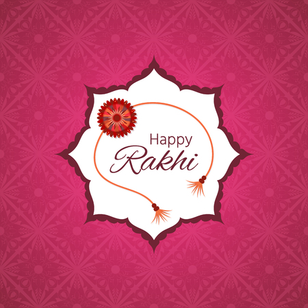 Greeting card for indian holiday Raksha Bandhan. The sacred thread of Rakhi is a symbol of love and care shared by a brother and sister. 向量圖像