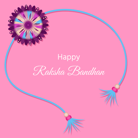 Greeting card for indian holiday Raksha Bandhan. The sacred thread of Rakhi is a symbol of love and care shared by a brother and sister. Illustration