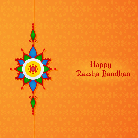 Greeting card for indian holiday Raksha Bandhan. The sacred thread of Rakhi is a symbol of love and care shared by a brother and sister.